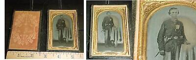 CIVIL WAR SOLDIER TINTYPE or AMBROTYPE with SWORD SIDE ARM BELT BUCKLE MASONIC