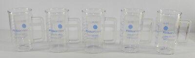Lot 5 Fisherbrand Scientific Glass Graduated 250 Ml Coffee Mug Laboratory Beaker