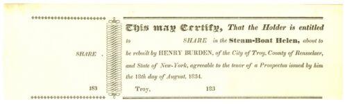 Steam-boat Helen Stock Share Certificate. Troy, New York. Henry Burden