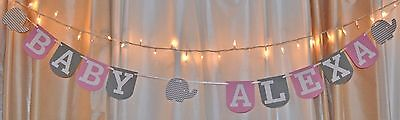 its a girl baby shower pink/grey chevron elephant custom name hanging banner  (Pink Gray Elephant Baby Shower)