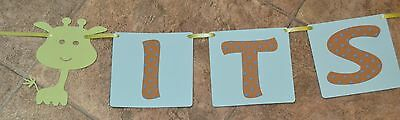 Its A Boy Sign (its a boy baby shower giraffe animal green/ blue banner/ sign)