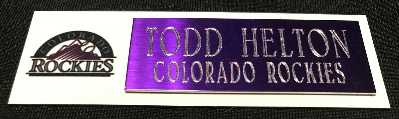 TODD HELTON COLORADO ROCKIES  NAMEPLATE FOR BASEBALL/MINI HE