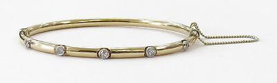 14k Yellow Gold Bezel Set Diamond Bangle Bracelet~6.3g