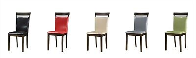 Set of 2 Pu Leather Wood Dining/ Kitchen/ Office Chairs in Black/Red/Gray/Green ()