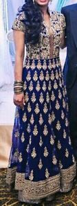 Navy Blue and Gold Anarkali suit - great for a wedding