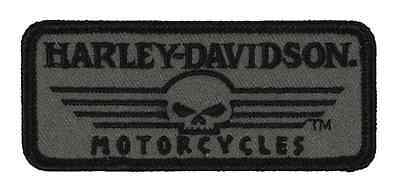 Harley-Davidson Embroidered Linear Skull Emblem, XS 3.375 x 1.5 inches EM027751