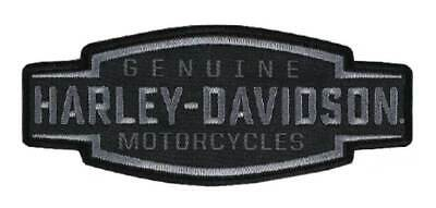 Harley-Davidson Embroidered Velocity Text Emblem Patch, 5 x 2in - Black -