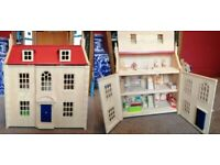 John Crane Pintoy Wooden Marlborough Dolls House - with dolls and furniture