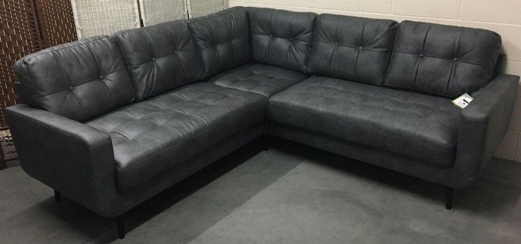 Skandi Scandi Loft Faux Leather Corner Sofa Charcoal Grey New Rrp 899