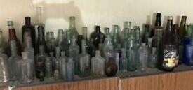 Large collection of Vintage glass bottles