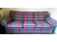 LARGE THREE SEATER CUSTOM MADE SOFA BED WITH 5 FT HAND MADE SPRUNG MATTRESS