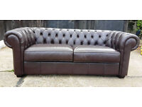 Heart of House Chesterfield Large Leather Sofa Antique Brown.