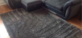Charcoal indulgence shaggy rug