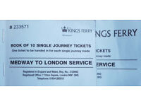 Kings Ferry Medway to London 5 of 10 Single Journey Tickets
