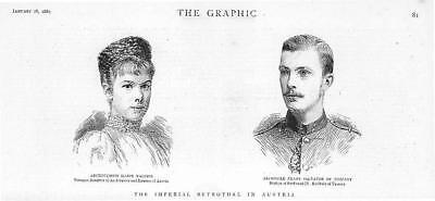 1889 Antique PORTRAIT Print  - AUSTRIA Royal Wedding Archduchess Marie  (01)