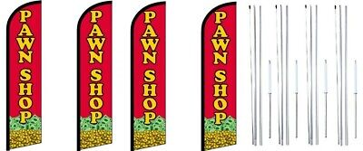 Pawn Shop Windless Flag With Complete Hybrid Pole Set- 4 Pack
