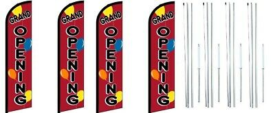 Grand Opening Balloons Windless Flag With Complete Hybrid Pole Set- 4 Pack