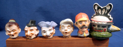 6 Vtg Antique Porcelain Ceramic Figural Liquor Wine Bottle Stopper Pourers Japan