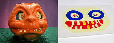 """GLASSINE REPLACEMENT FACE FOR THE """"GOOFY JOL"""" HALLOWEEN PAPER MACHE LANTERN #X"""