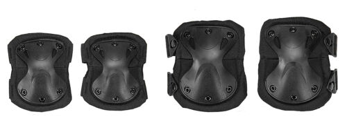 Tactical Military Quick Release Padded Airsoft Knee & Elbow Pads Black AC-478B