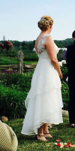 Ivory Wedding Dress - Tea Length - Regular Size 14/16