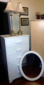 WHITE DRESSER WOOD WHITE MTRROR AND TWO CUTE LAMPS.