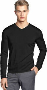 New Calvin Klein Black Extra Fine Merino Wool Long Sleeve Medium