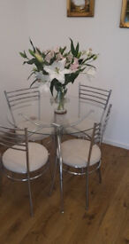 Glass Round Dining Table and 4 Chairs Set Chrome Legs