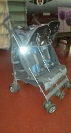 Maclaren Twin stroller with rainwear