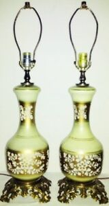 1950s GLASS Table Lamps FLORAL Antique Vintage