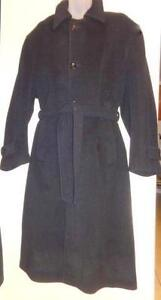 46 48 XL Mens Black Cashmere Long Wool Coat Hunt Club CANADA $600 orig / Free Scarf / MINT Excellent quality