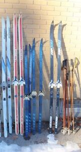 Lot of skis and poles
