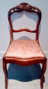 FREE DELIVERY Antique BROCADE Chair HAND CARVED Vintage