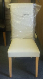 Brand new cream leather high back dining chair
