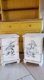 pair of alice in wonderland cabinets / drawers