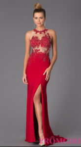 Red Sleeveless with an Illusion Top, Prom Dress