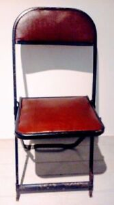 3 for $20  FREE DELIVERY Folding Chairs RED LEATHER Antique