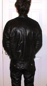 MENS -GENUINE BLACK LEATHER SUIT  - JACKET & PANTS - IMMACULATE!