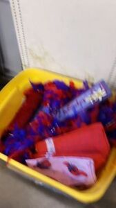 RED HAT ITEMS , HUGE BIN FULL OF DIFFERENT RED HAT ITEMS