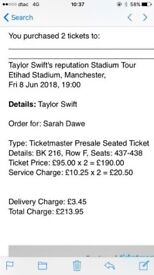 Taylor Swift Etihad Stadium Manchester 2x tickets, Friday 8th June! Central view from Block 216!