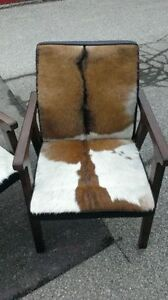 cowhide chairs, mid century, french RH salvaged wood