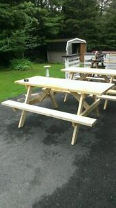 Strong handmade picnic tables!