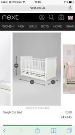 Stunning White Cot - 2 months old - excellent condition - next
