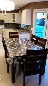 Amazing Dinning Table Set with 6 Leather Chairs