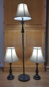 3 way floor lamp and 2 table lamps set