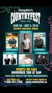 2 weekend passes to Dauuphin Country Fest