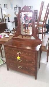 Vintage Solid Wood 3 Drawer Dresser with Mirror for Sale