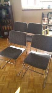 4 Vintage, Retro black and grey kitchen dining table chairs
