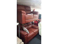 Ex-display red quality leather 2+2 seater