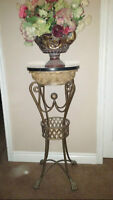 Pedestal Stand Marble and Wrought iron planter as well